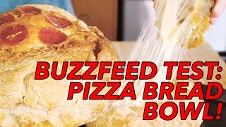 Buzzfeed Recipes Test: Cheesy Pepperoni Pizza Bread Bowl Recipe- Joe Cooks  Food Porn