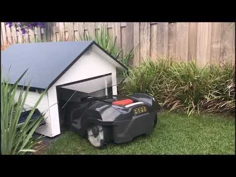 robohut customer video lawn mower garage for automower 300 400 500 series youtube