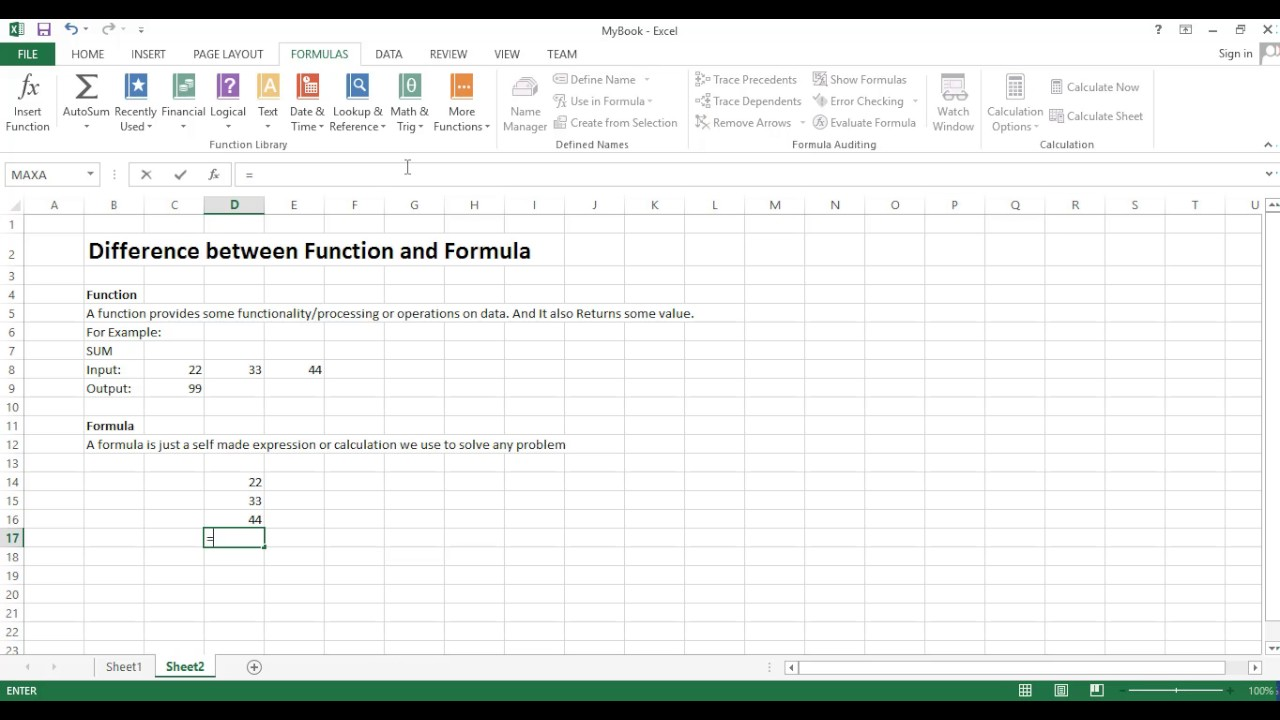 01 Excel - Difference between Function and Formula - YouTube
