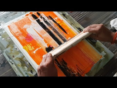 Abstract painting / Simple / Just using rubber squeegee / Acrylics / Demonstration