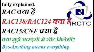 what is RAC in IRCTC आईआरसीटीसी में आरएसी क्या है by anything means everything