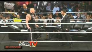 brock lesnar attack the miz raw 2/4/13