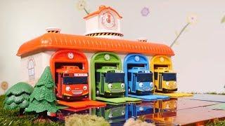 TAYO español. Los CAMIONES construyen una estacion de autobuses. Vídeos de juguetes para niños