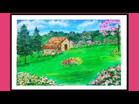 Acrylic landscape painting || simple and easy painting ||
