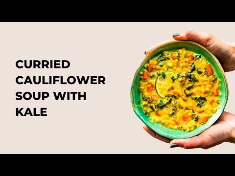 Curried Cauliflower Rice Kale Soup