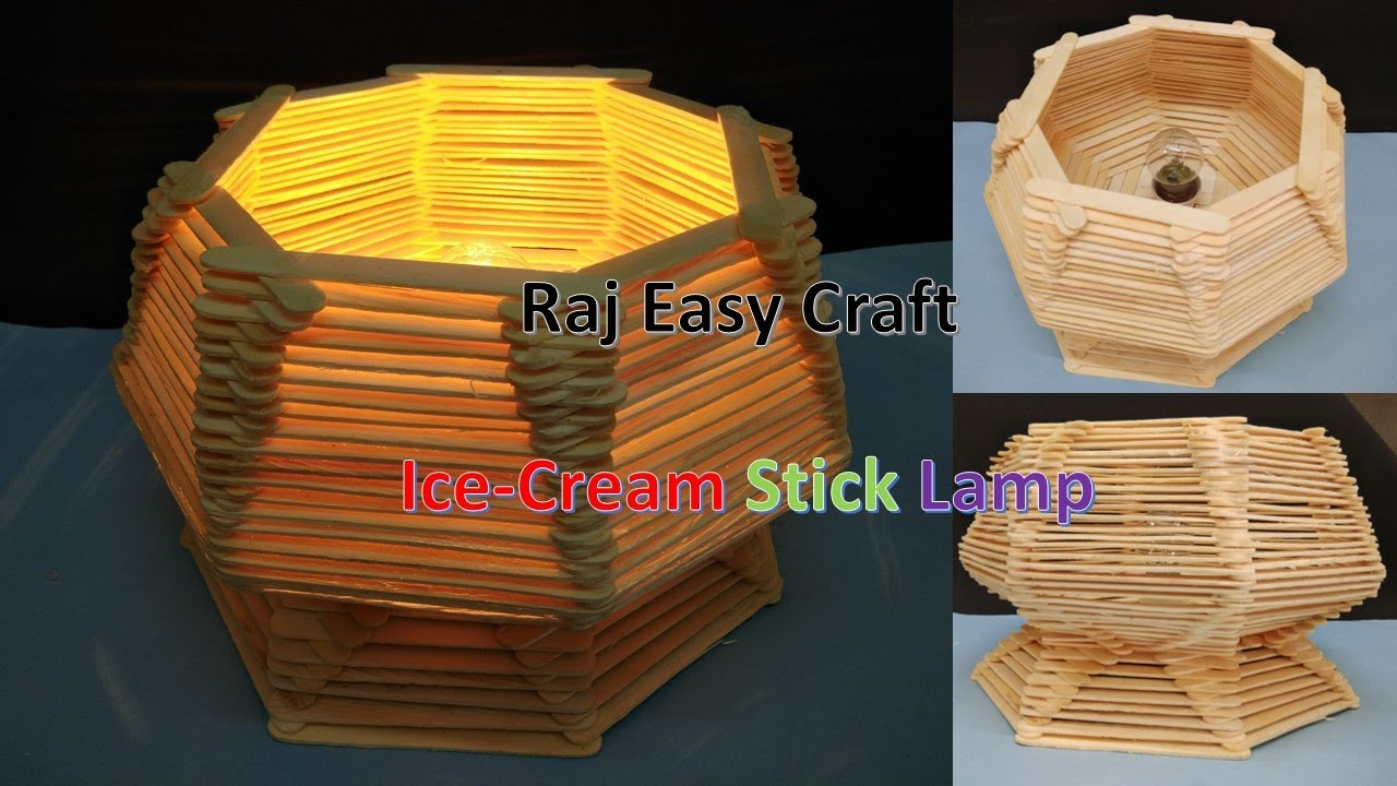 How to make Ice Cream Stick lamp || popsicle stick lamp || Diy ...