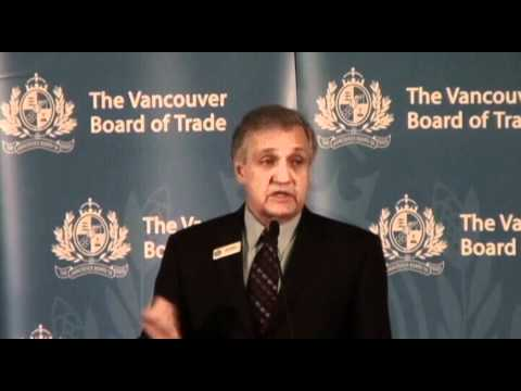 Ridley Terminals chairman Bud Smith addresses The Vancouver Board of Trade