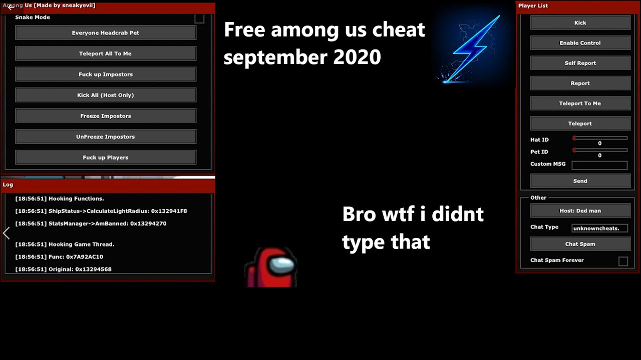 Free Among Us Cheat Hack Working September By Sneaky Evil Outdated But Still Works Youtube