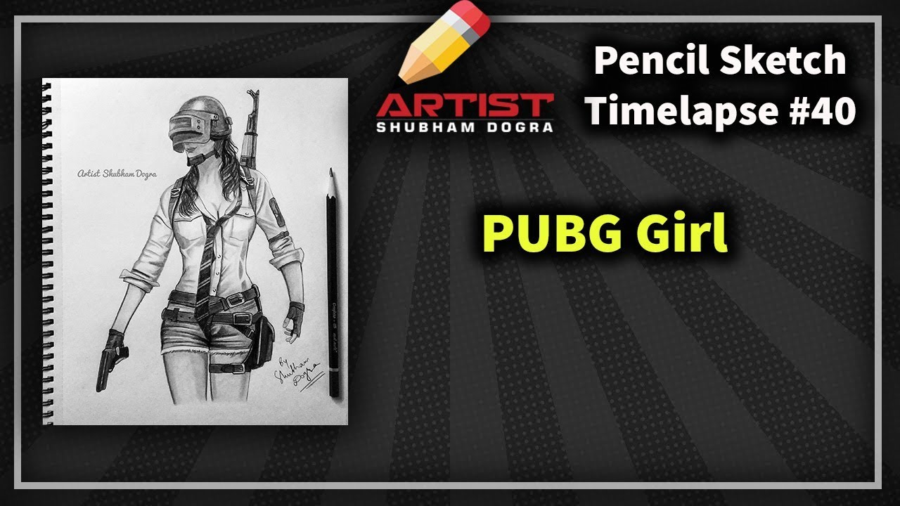 PUBG Girl Player 🔥 Realistic pencil drawing - YouTube