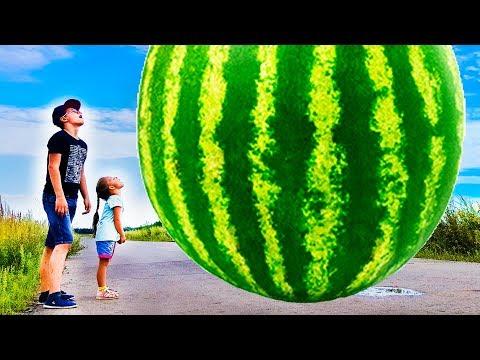 Magic wand transform into a GIANT WATERMELON! w/ Johny Johny Yes Papa Song for Kids