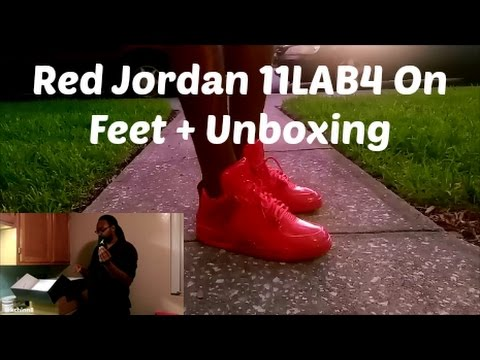 huge discount 3f2ce 2d015 Air Jordan 11Lab4 University Red On Feet and Unboxing