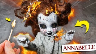 BURNING MY HAUNTED ANNABELLE DOLL AT 3AM CHALLENGE!! (GONE WRONG)