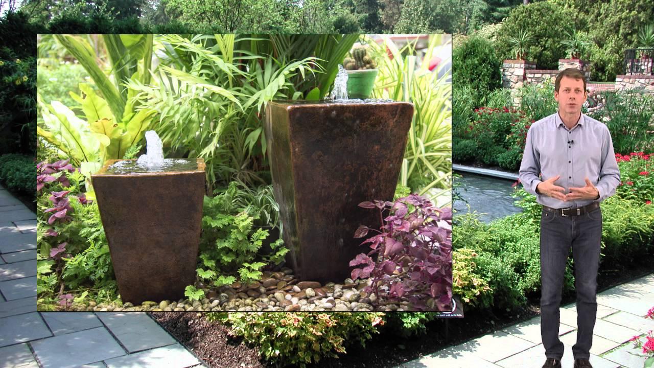 bassin pierre reconstituée exterieur et jardin - youtube