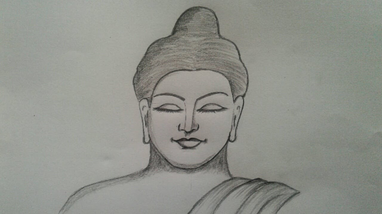 How to draw lord buddha face simply by using graphite pencil