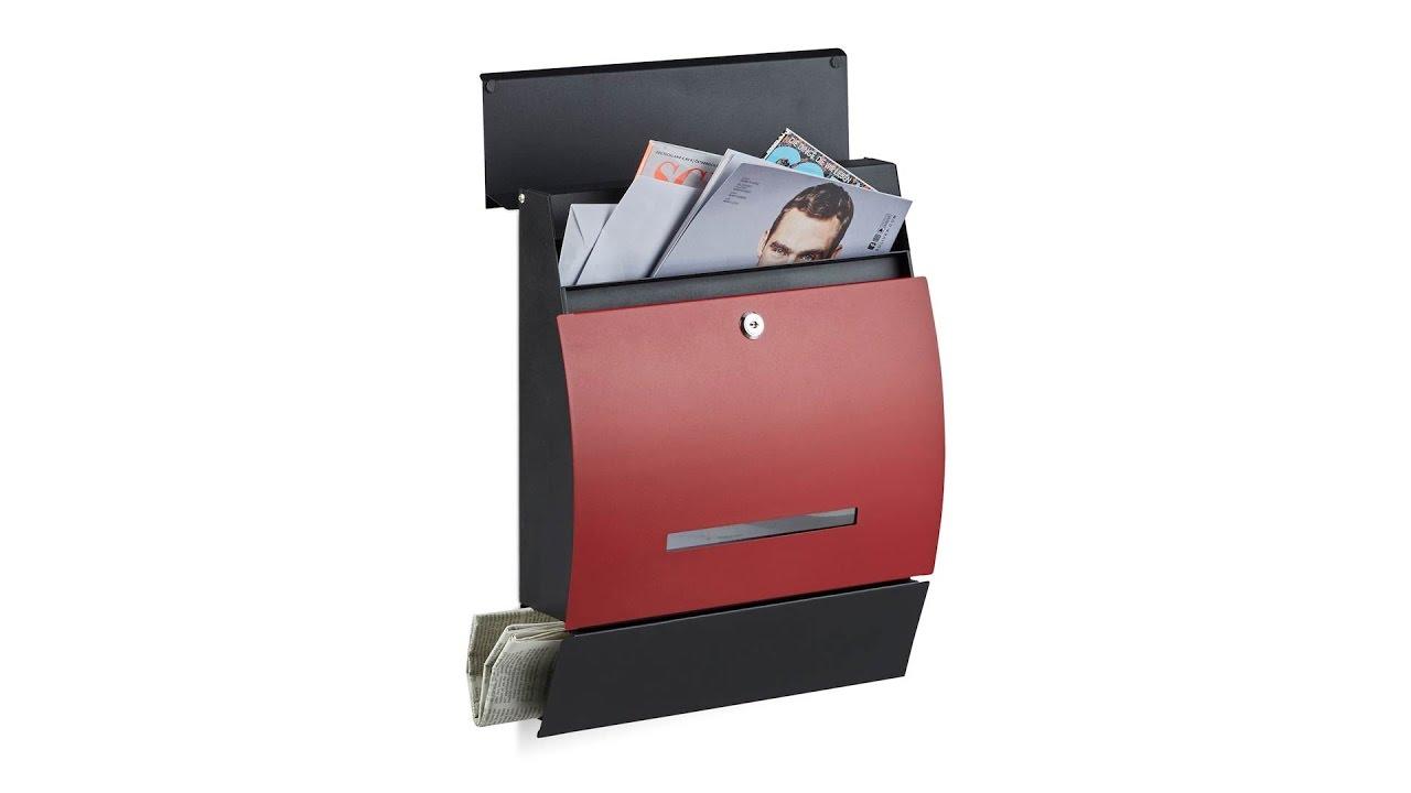 Design Briefkasten Mit Zeitungsfach Rot Youtube
