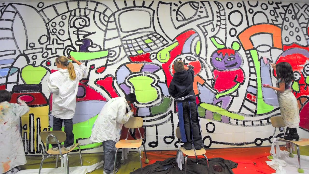 Millersville elementary school mural with andee rudloff for Draw with jazza mural