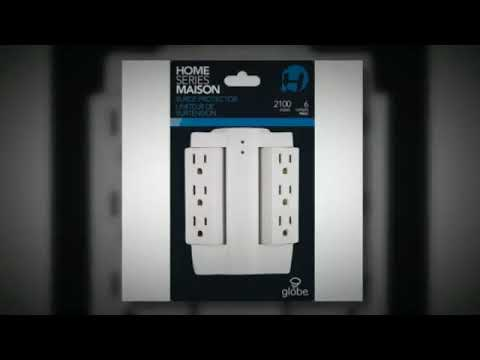 Side Socket Globe Electric 7732001 The Original 6 Outlet Swivel Tap with Surge Protection   YouTube