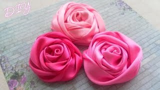 Как сделать плоские Розы из лент/ Ribbon Rose Tutorial / ✿ NataliDoma DIY(Мастер-класс: Как сделать красивые атласные Розы из лент для украшения одежды или аксессуаров. Tutorial: How to..., 2014-10-17T09:00:03.000Z)