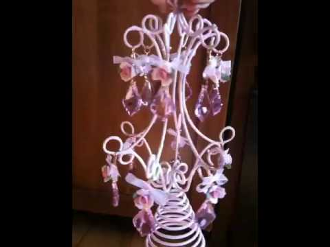 Pink shabby chic chandelier christmas tree topper youtube pink shabby chic chandelier christmas tree topper aloadofball Image collections