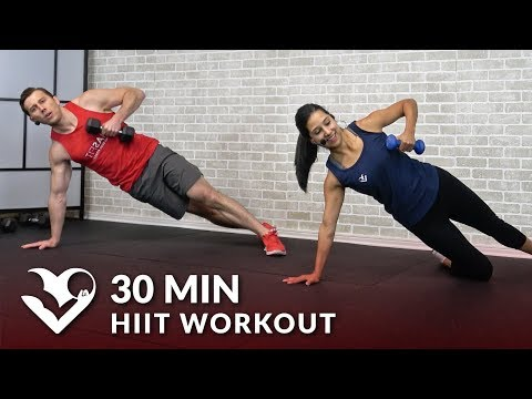 30 Minute HIIT Workout for Fat Loss at Home with Dumbbells - 30 Min HIIT Workouts for Men & Women