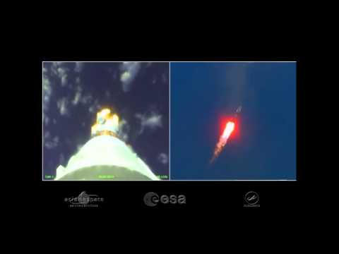 Onboard camera view: launch and separation of Sentinel-1A #ESA