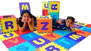 Kids Alphabet Floor Puzzle Mat with make your own playground