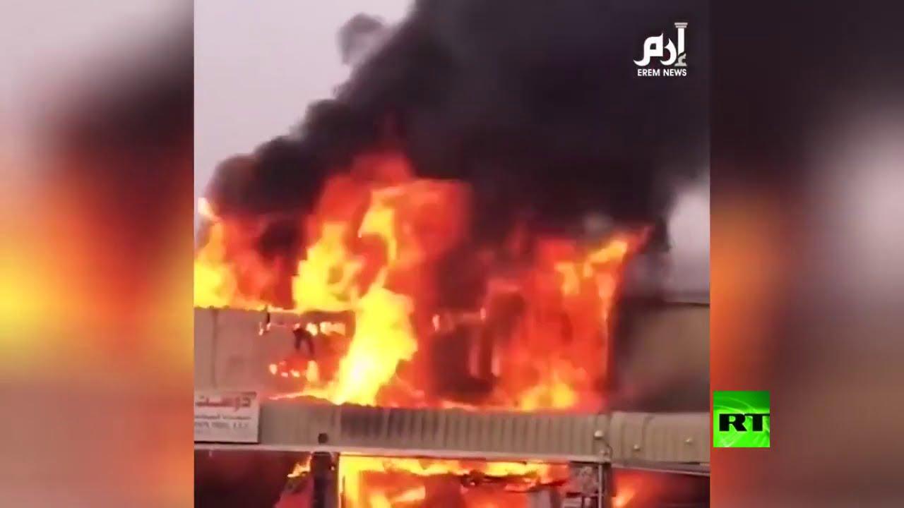 شاهد.. حريق كبير في أحد أسواق عجمان