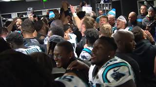 Cam Newton spikes game ball in victorious locker room