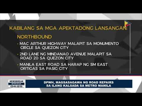 NEWS BREAK: DPWH, magsasagawa ng road repairs sa ilang kalsada sa Metro Manila