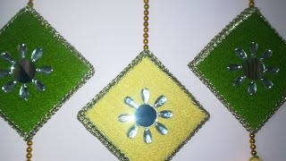 #How to make toran from cardboard and wool//#diy door hanging