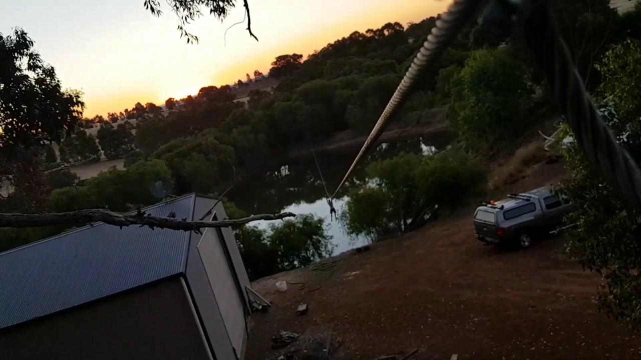 Epic Backyard Zipline Flying Fox Into Dam