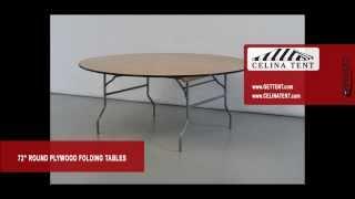 "Round Wood Folding Tables - 72"" / 6' Diameter"