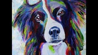 BORDER COLLIE - Pintura acrílica sobre tela