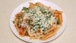Выкладываю сухие макароны в сковороду и через 20 мин вкусный ужин готов.