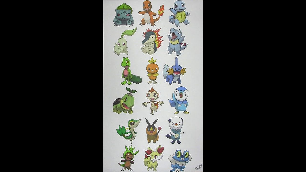 Coloring the Starter Pok mon of all 6 Generations Speed