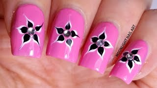 Pink nails with Flower – Drag marble Nail Tutorial