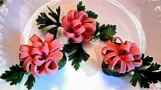 7 LIFE HACKS HOW  TO CUT THE SAUSAGE  - ART IN VEGETABLES & GARNISH CUCUMBER TOMATO CARVING
