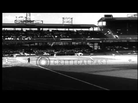 Griffith Baseball Stadium, in Washington DC,  seen empty, and with a baseball gam...HD Stock Footage