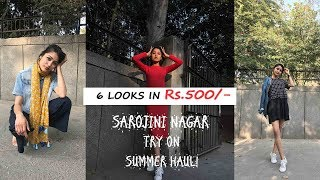 6 Summer LOOKS IN 500rs.|SAROJINI NAGAR TRY ON SUMMER HAUL|STYLE ON A BUDGET| SONIA GARG