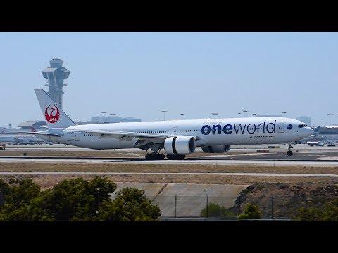 "Japan Airlines ""Oneworld"" Boeing 777-300ER [JA732J] Landing at LAX."