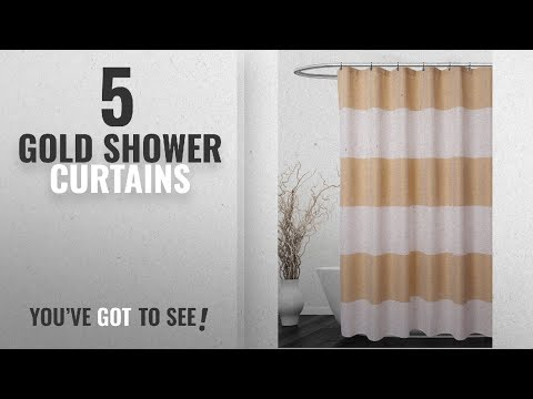 Top 10 Gold Shower Curtains [2018]: Striped Shower Curtain with Waffle Weave – Hotel Luxury, SPA,