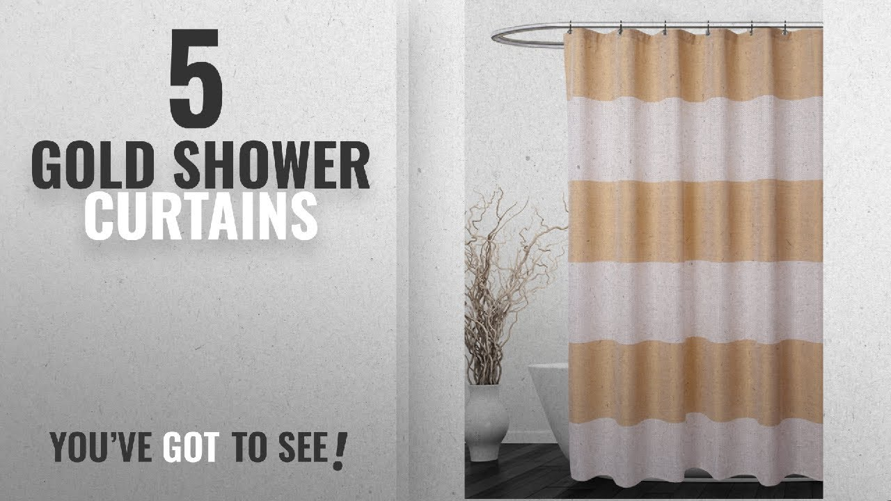 Top 10 Gold Shower Curtains [2018]: Striped Shower Curtain with ...