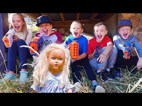 Crazy Doll Returns! Nerf Adventure With Sneak Attack Squad & The DollMaker!