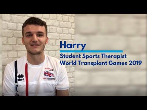 Student Sports Therapist, Harry Pit   World Transplant Games 2019