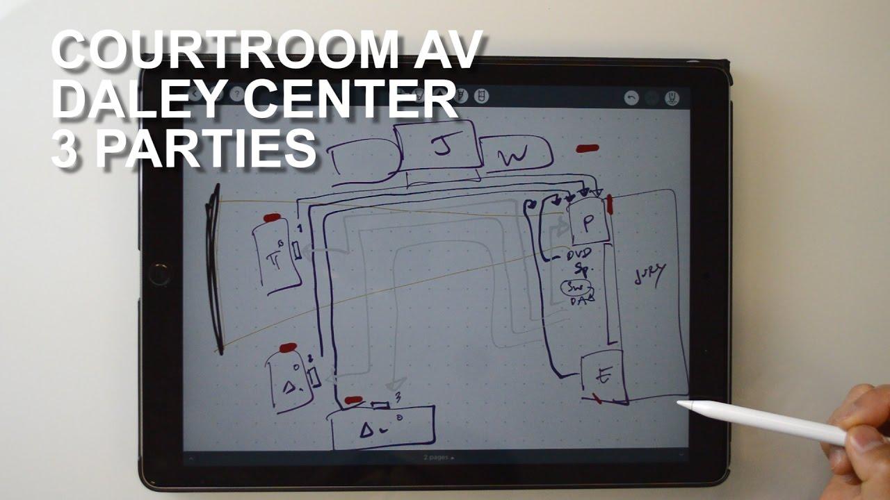 hight resolution of courtroom av diagram daley center trial