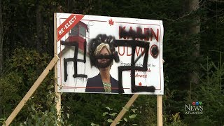 New Brunswick Liberal candidate signs defaced with swastikas