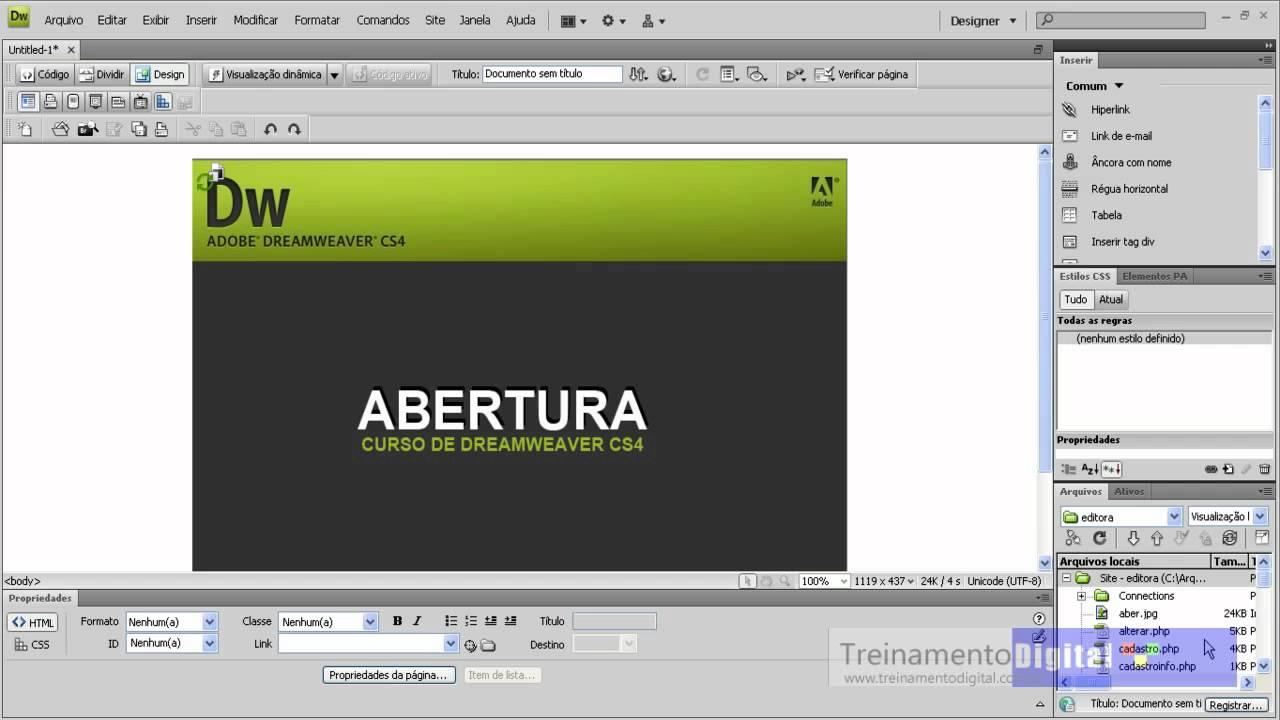 video aula dreamweaver cs4