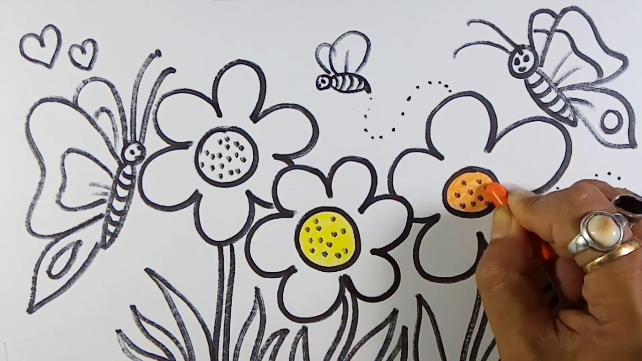 Easy And Simple Flower Garden Drawing Youtube