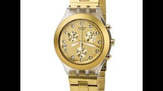 Swatch SVCK4032G Unisex Full-blooded Gold Plated Stainless Steel Chronograph Watch Review Video