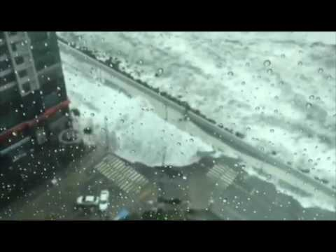 Powerful Waves Flood Streets in Busan, South Korea